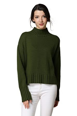 MEEFUR Women s Long Sleeve Knitted Sweater Loose Fit Tops Winter Crew Neck  Wool Pullover(Green da872c9ee