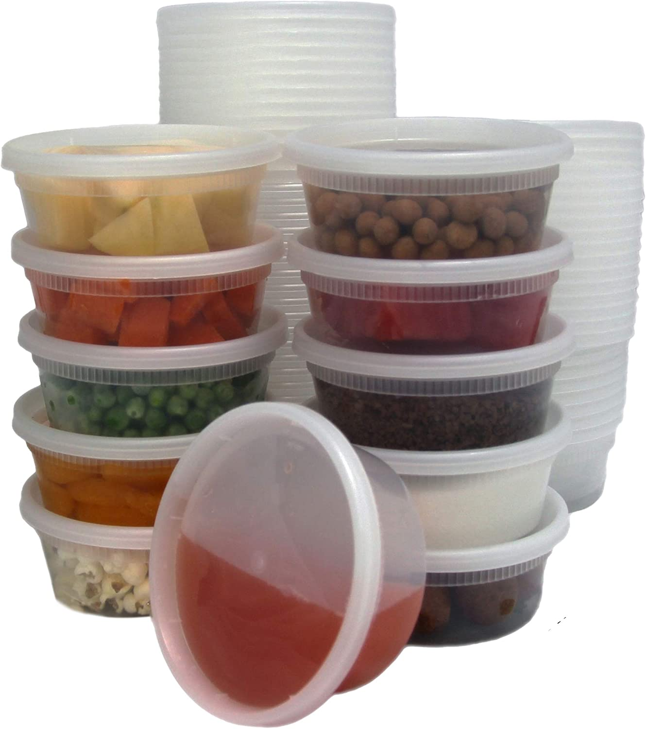 [40 Pack] Food Storage Containers with Lids, Round Plastic Deli Cups, US Made, 8 oz, Cup Size, Leak Proof, Airtight, Microwave & Dishwasher Safe, Stackable, Reusable, White