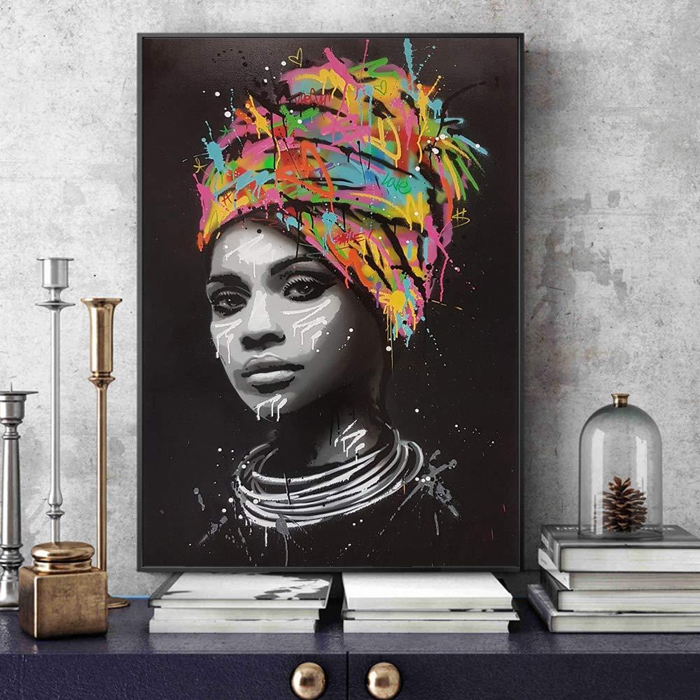 Pintura de lienzo Retrato de mujer africana Pinturas de ...