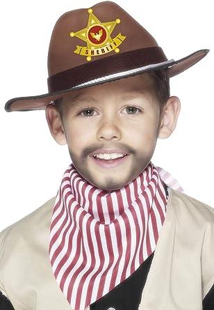 Childrens BOYS cowboy Sceriffo Cappello Costume Nero Nuovo Da Smiffys