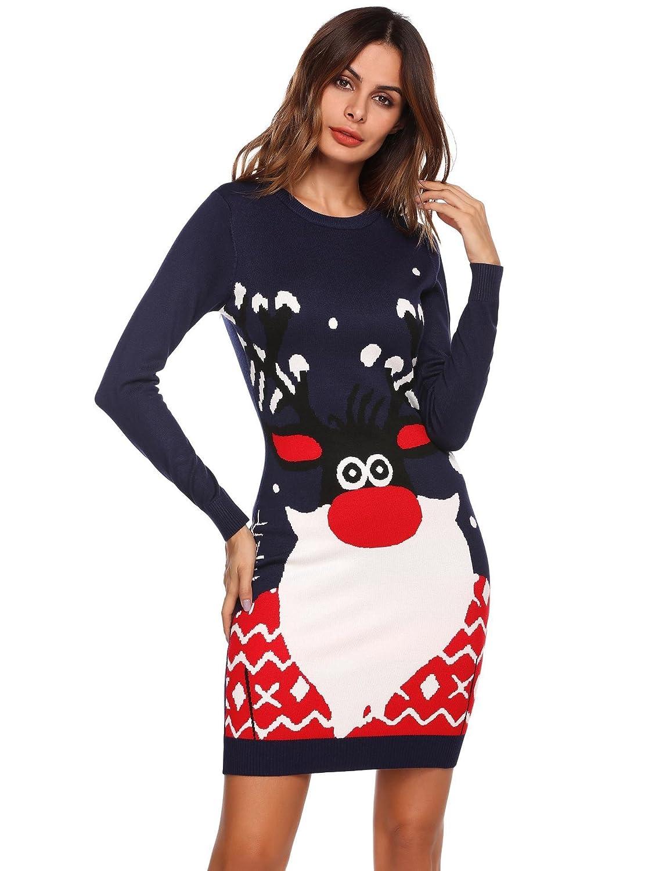 719fd2fea20 Meaneor Robe de Noël Pull Femmes Manches Longues Santa Impression Robes de  Swing Party de Noël Automne-Hiver  Amazon.fr  Vêtements et accessoires