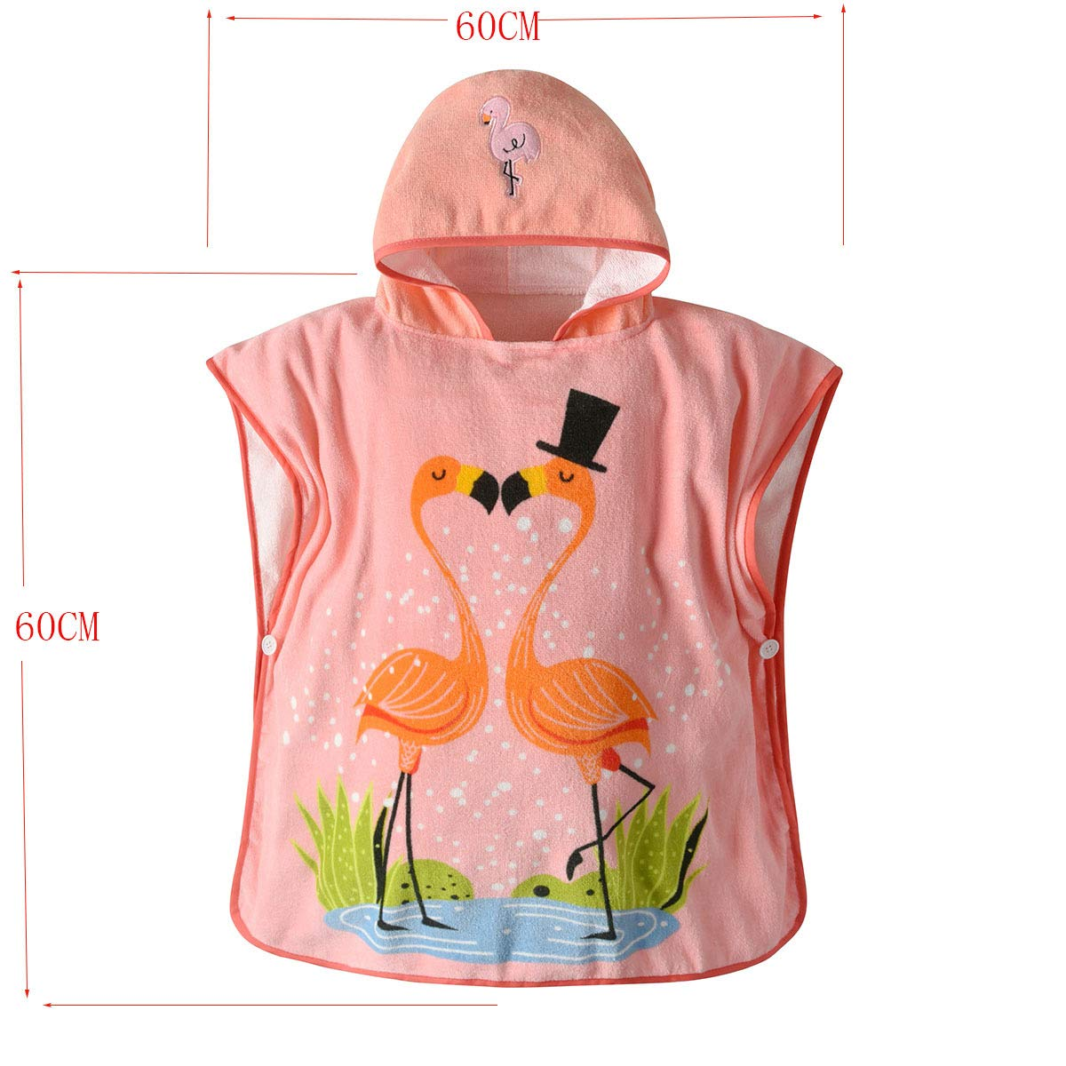 XXRBB Soft Cotton Hooded Towels for Baby Kids,Microfiber Hypoallergenic Super Absorbent Lightweight Girls Robe with Cute Animal Appliques,60x60cm(24x24inch) by XXRBB