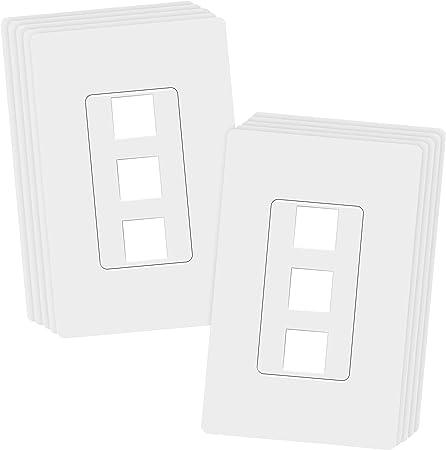 3 port white screwless Keystone wall plate
