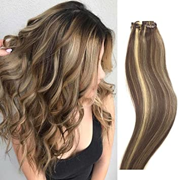 Human Hair Extensions Clip in Light Brown to Blonde Highlights 14 inch Real  Human Hair balayage Ombre 7 PCS Full Head Silky Straight Long Clip on Hair