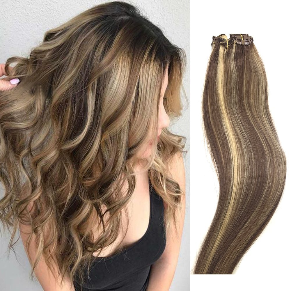 Clip in Hair Extensions Real Human Hair Extensions 14'' 16'' 18'' 20'' 7 PCS Full Head Silky Straight 70g Remy Hair (20'', 6/613)
