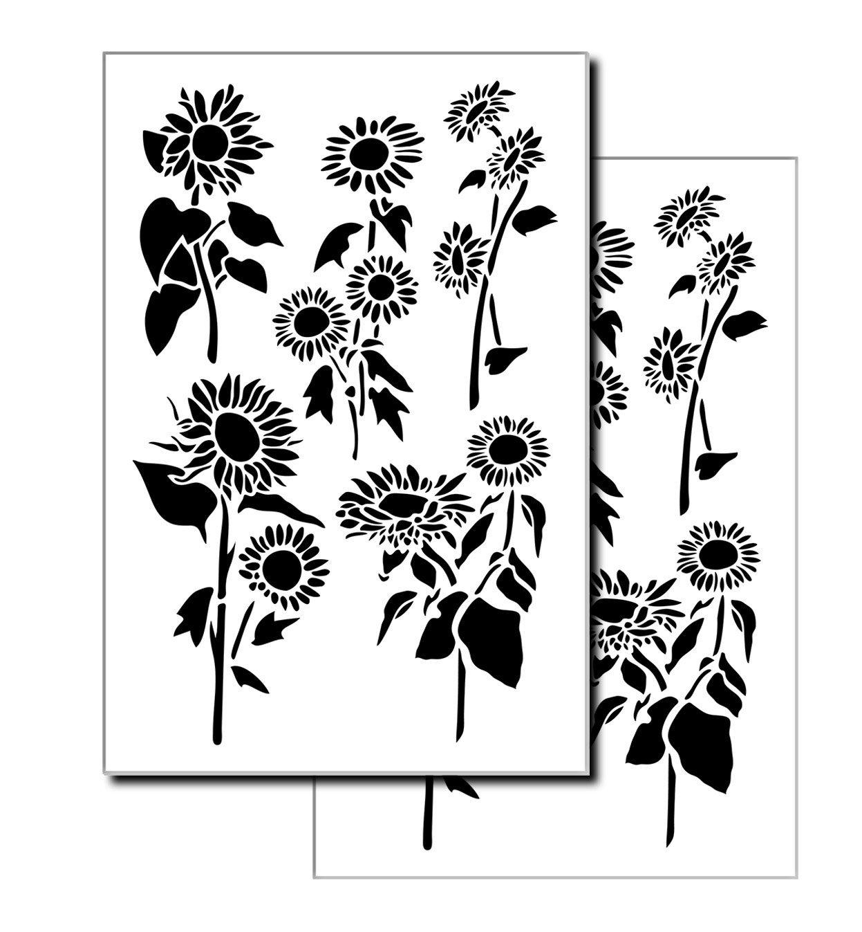 2 diseños - Plantillas de flores de girasol para aerógrafo de pared modelo pintura 10 ml Mylar 14