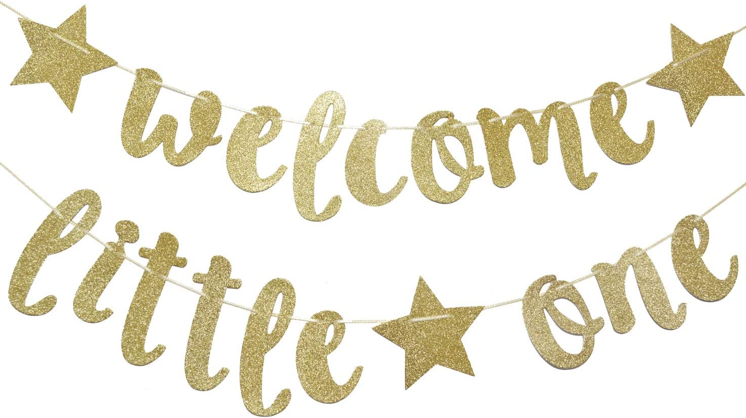 Welcome Little One Glitter Gold Banner, Baby Shower, Gender Reveal Party, Glitter Party Decor (Gold)
