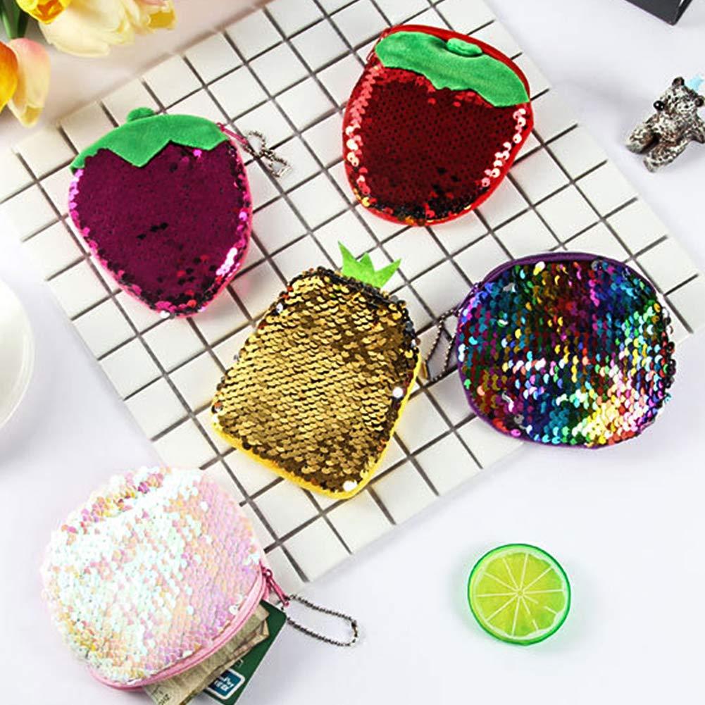 Lovinda Girl Women Fashion Coin Purse Creative Color Sequins Coin Wallet Small Coin Bag Coin Key Ring Holder Money Bag Purse Handbag Accessory for Lady Birthday Gift