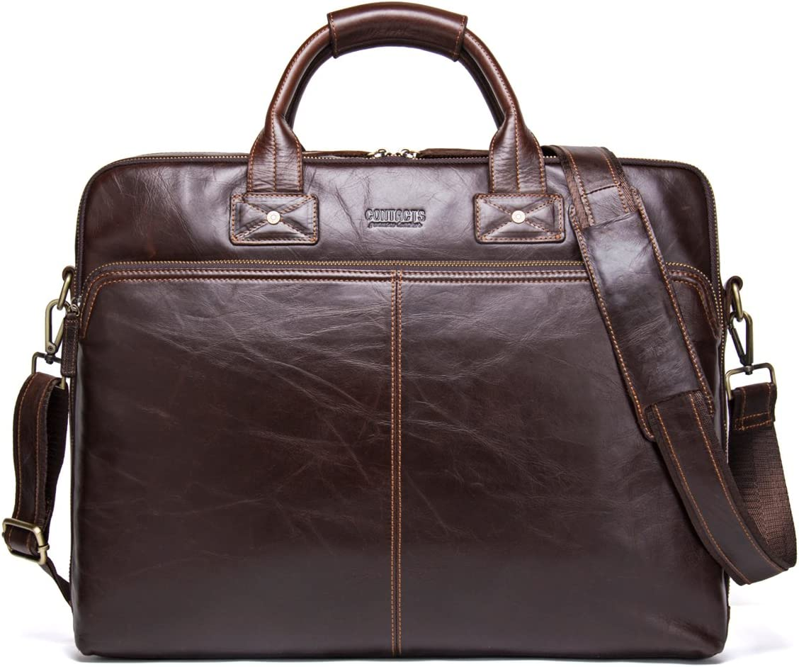 Contacts Genuine Leather 15.6 Mens Messenger Shoulder Bag Laptop Briefcase Tote Dark Coffee