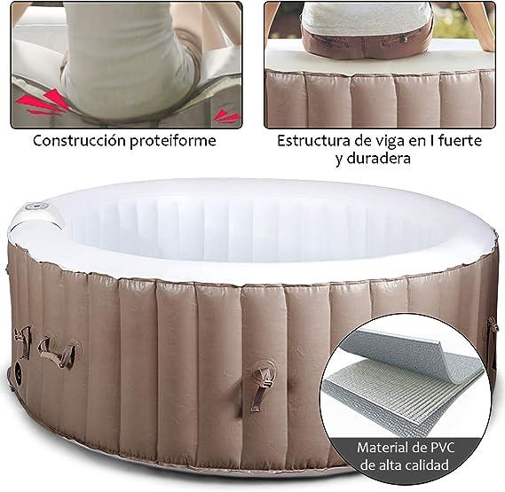 COSTWAY SPA Hinchable Jacuzzi con Inflado, Calentamiento y Masaje para 4 Personas 800 Litro 180x180x65 Centímetros: Amazon.es: Jardín
