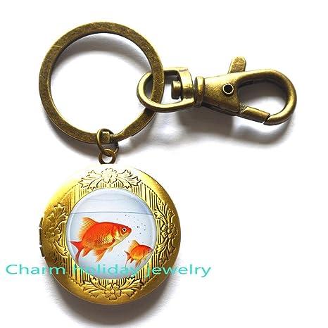 Amazon.com: Pecera medallón llavero, llavero, Goldfish ...