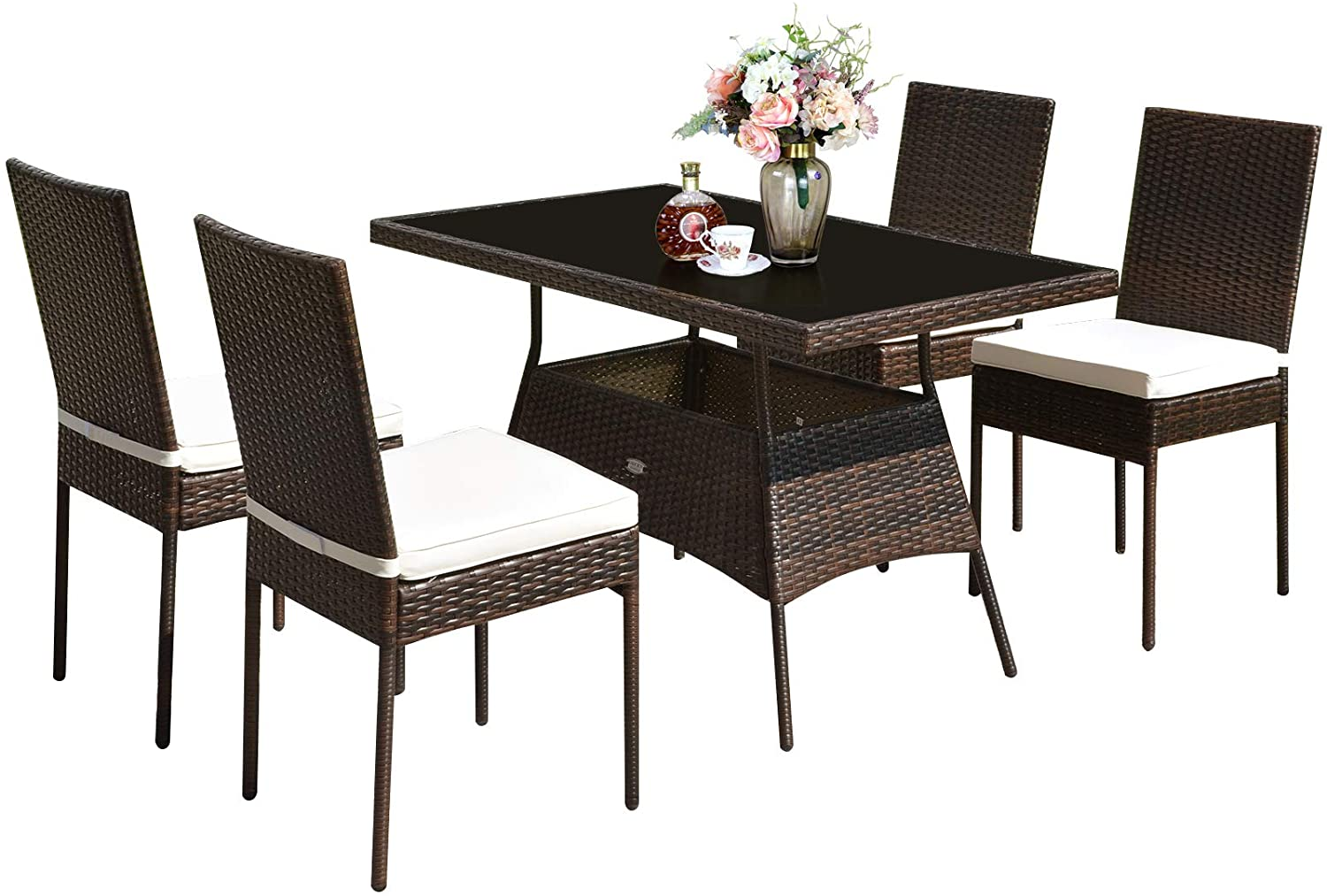 Tangkula 5 Pcs Patio Wicker Dining Set Outdoor Rattan Table And Chairs With W Tempered Glass Table Top Padded Cushions Wicker Patio Conversation Furniture Set For Balcony Patio Garden Poolside Kitchen Dining Amazon Com