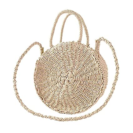 3b3d2cbdf9 Zongsi Paille ronde sac de plage été mini sac à bandoulière à la main  Vintage cercle rotin sac petit sac à bandoulière Bohème pour les femmes:  Amazon.fr: ...