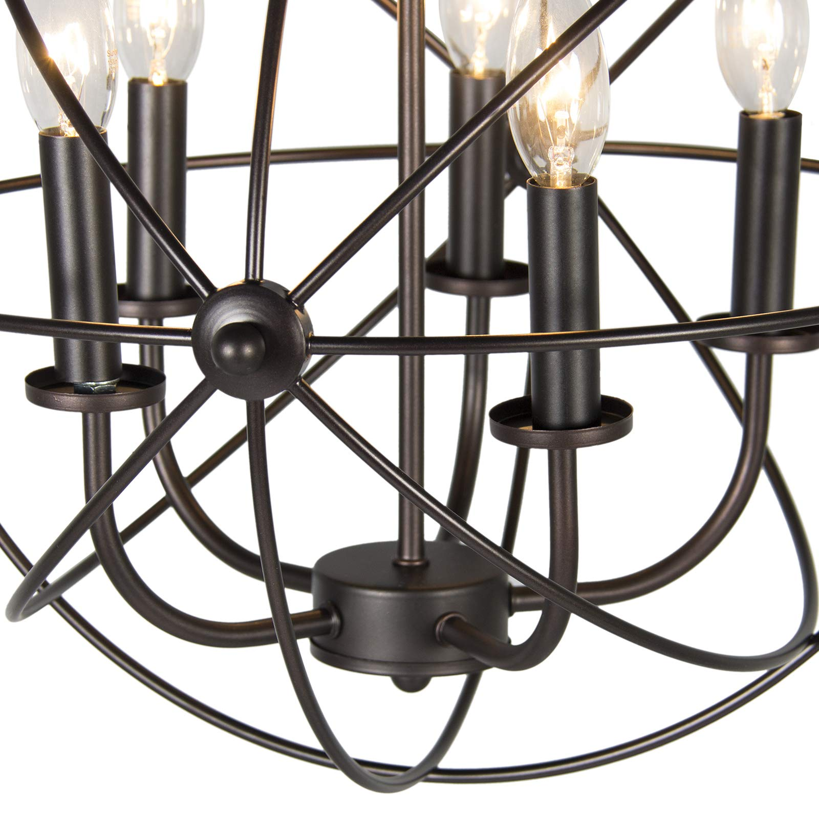 Industrial Vintage Lighting Ceiling Chandelier 5 Lights Metal Hanging Fixture by Best Choice Products (Image #4)