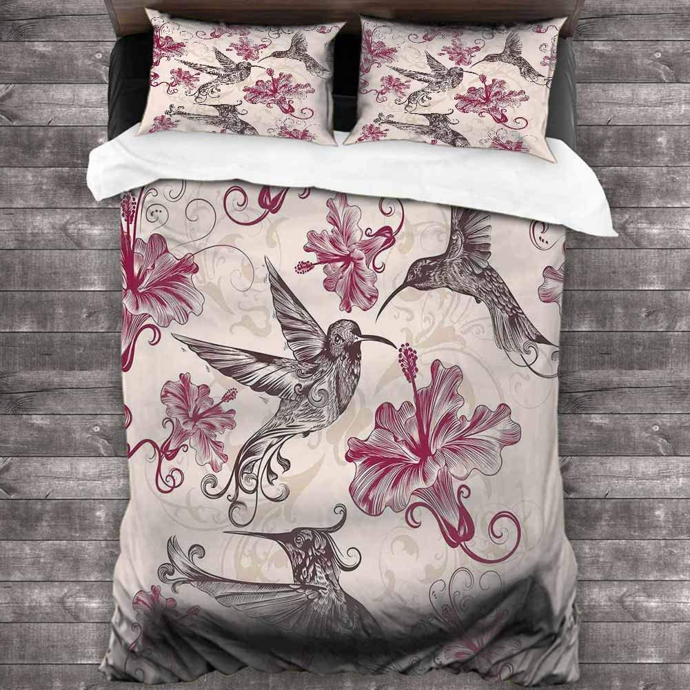 1 Duvet Cover + 2 Pillow Shams 68x90 inches with Zipper Closure Ultra Colorful Twin Hummingbirds Comforter Bedding Set Bedding Set Full 3 Pieces
