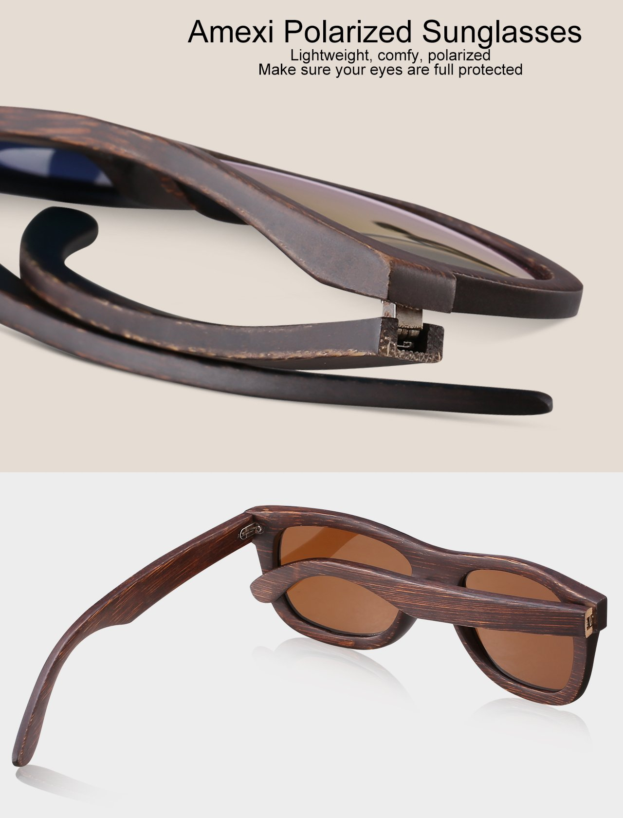 Amexi 2018 Novità Bambù Occhiali da sole con protezione UV400 Donne ,Uomo ,Luce unisex polarizzata anti-UV Occhiali da sole in legno
