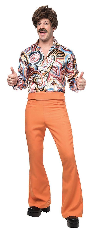 60s – 70s Mens Bell Bottom Jeans, Flares, Disco Pants 70s Dude Adult Costume Orange (Rust) - X-Large $35.88 AT vintagedancer.com