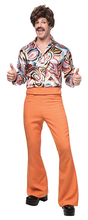 Retro Clothing for Men | Vintage Men's Fashion Franco 70s Disco Dude Mens Rust Halloween Costume $54.95 AT vintagedancer.com