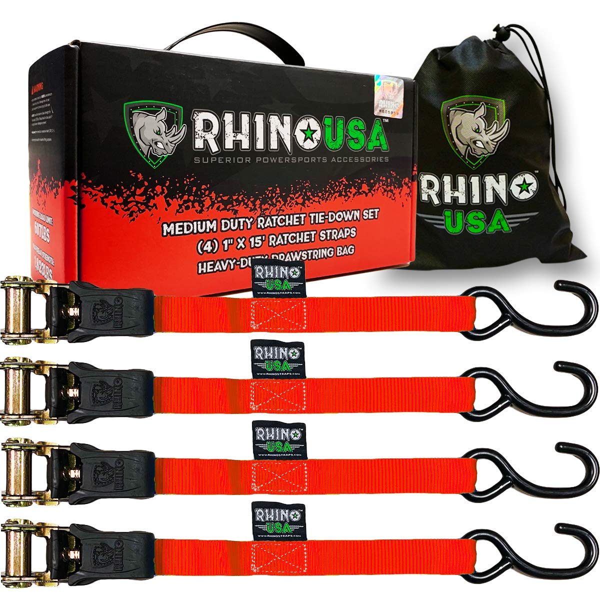 RHINO USA Ratchet Tie Down Straps (4PK) - 1,823lb Guaranteed Max Break Strength, Includes (4) Premium 1'' x 15' Rachet Tie Downs with Padded Handles. Best for Moving, Securing Cargo (RED)