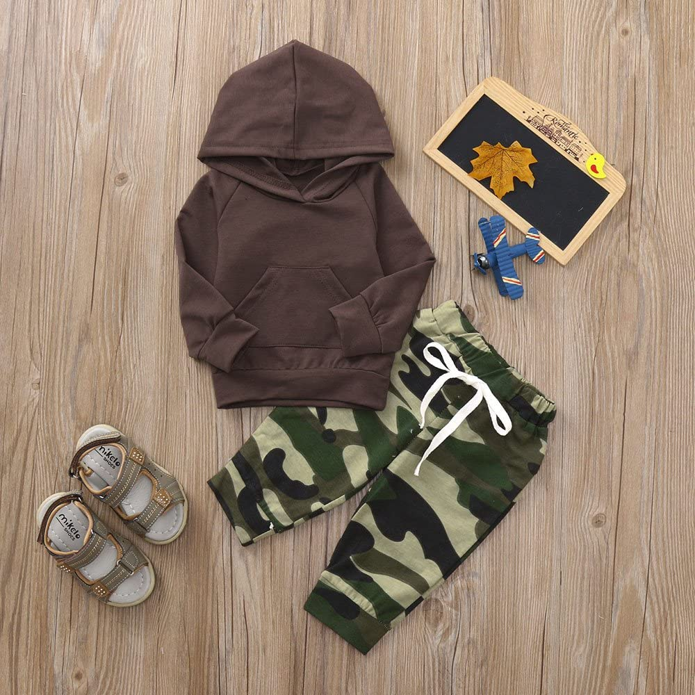 XUANOU Baby Long Sleeve Solid Color Hoodie Top Camouflage Pants Two Piece Suit Toddler Girl Set Print Tops Outfits