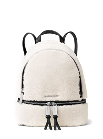 34a0795caaf2 Amazon.com  MICHAEL MICHAEL KORS Rhea Small Shearling   Leather Backpack   Clothing