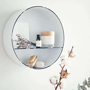 Circle Shelf – Round Wall Shelf – White Rustic Shelves with Distressed Edging–Enamel Metal Inset Rustic Wall Shelves – Easy Install Farmhouse Wall Shelf for Kitchen, Hallway, Bedroom, Bathroom