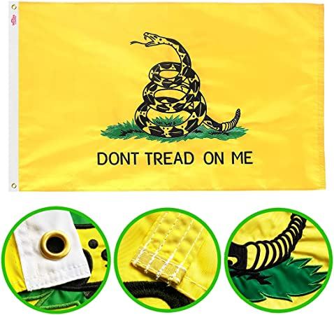 Amazon.com : Winbee Embroidered Gadsden Don't Tread On Me Flag 3x5 ...