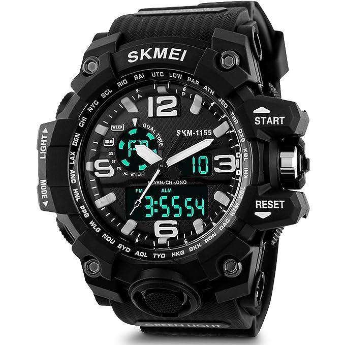 SKMEI Analog Digital Black Dial Men\'s Watch   AD1155  Black  Men\'s Wrist Watches