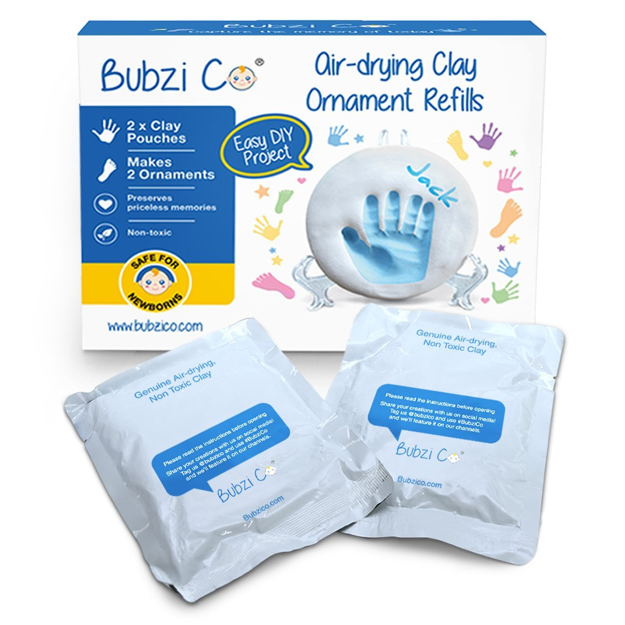 Bubzi Co Baby Handprint & Footprint 2X Air-Drying Clay Ornament Refills for Newborns & Infants to Make More Ornaments, Personalised Keepsake, New Baby Gifts, Nursery & Christmas Tree Décor