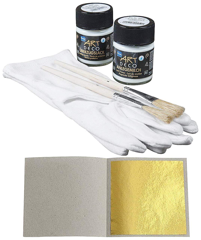 100 Sheets Imitation Gold Leaf Leaves 48 x 48 mm + 1 x Glue Adhesive 50ml + 1 x Varnish Protection 50ml + 1 x Gloves + 2 x Brush Blattgold-Blattsilber