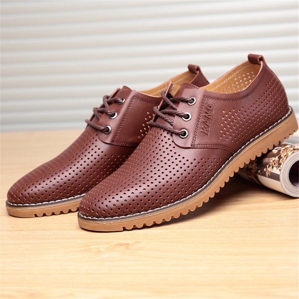 ChicWind Men's Breathable Leather Casual Shoes Lace up Oxfords Dress Shoes Brown by ChicWind (Image #4)