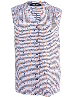 NINE WEST Womens Plus Anchor Printed Button-Down Top