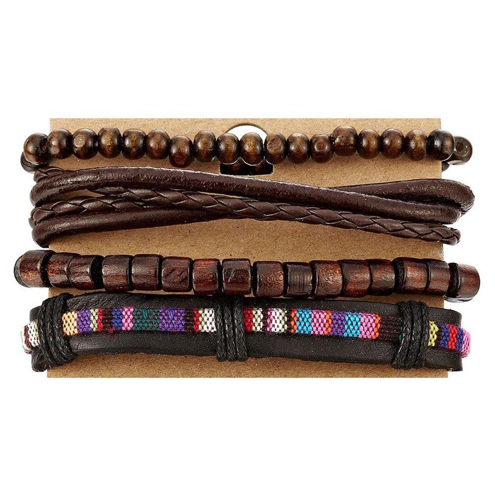 COOLSTEELANDBEYOND Mix 4 Brown Wrap Bracelets Men Women, Wood Beads Ethnic Tribal Bracelets, Leather Cotton Wristbands