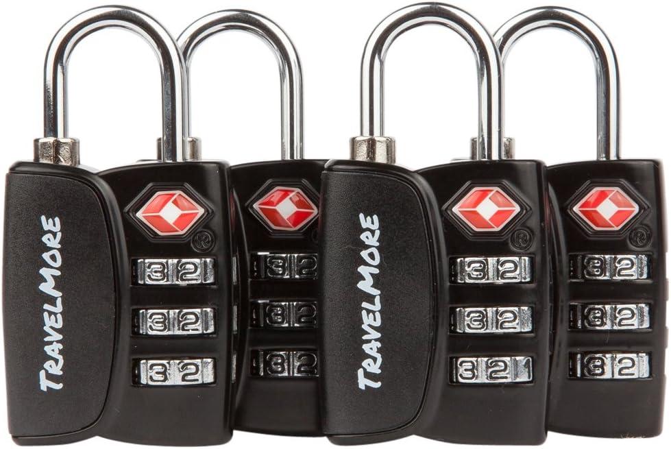 Paquete de 4 Candados para Equipaje con Combinación de 3 Dígitos Aprobado por la TSA e Indicador de Alerta de Apertura para Maletas y Equipaje de Viaje (Negro)