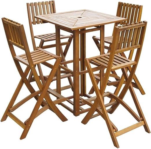 Mesa Alta y taburetes de jardín 5 Piezas de Madera de Acacia Mobiliario Mobiliario de Exterior Conjuntos de mobiliario de Exterior: Amazon.es: Hogar