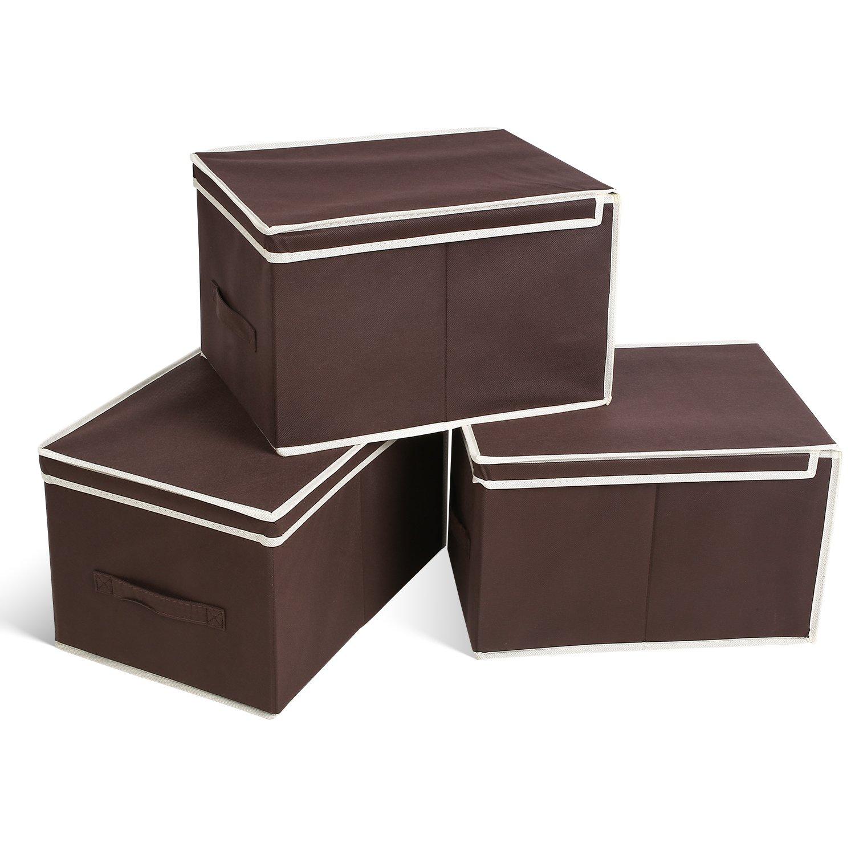 HOMFA 3er Aufbewahrungsboxen Stoff mit Deckel faltbar Schublade ...