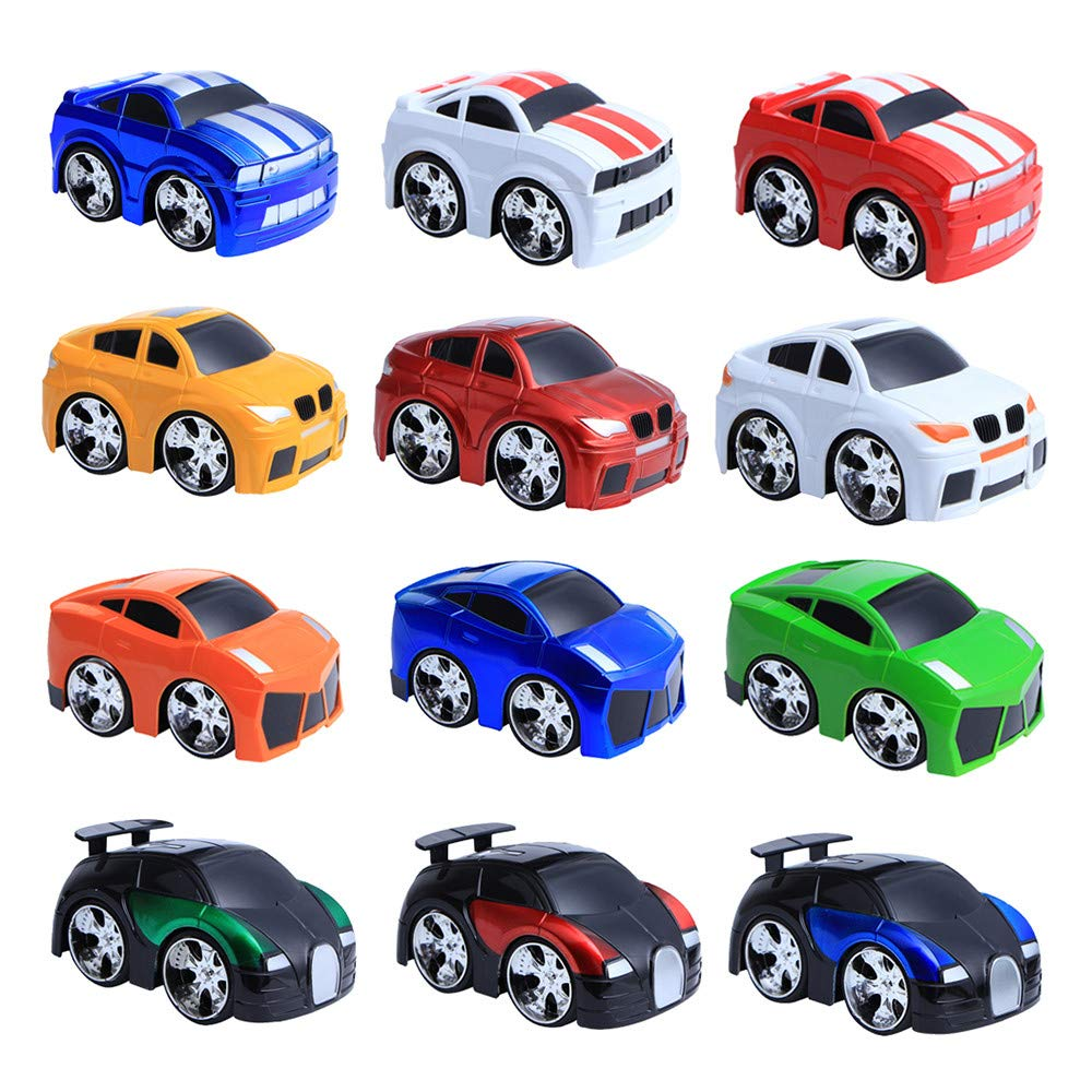 Amaping Pull Back Car 12 Pack Mini Plastic Vehicle Set Car Toys for Boys Kids Child Party (A)