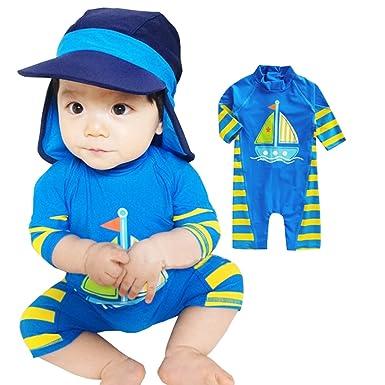09466b35f7 Amazon.com: TAIYCYXGAN Baby Little Boys One Piece Bathing Suit Rashguards  Swimsuit UV Sun Protective Surfing Suit With Hat UPF 50+: Clothing