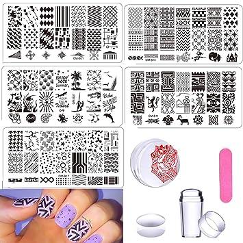 Amazon.com : DAODER Nail Art Stamping Plates Templates Nail Stamping ...