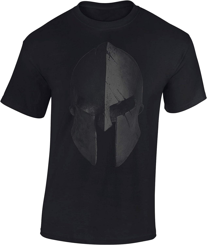 Camiseta: Casco Esparta - Train Hard - Fitness T-Shirt Hombre-s y Mujer-es - Forma Gimnasio Gym - Camisa Sport Deporte - Culturismo Body-Building Workout - Regalo - Sparta - MMA Combate Boxeo