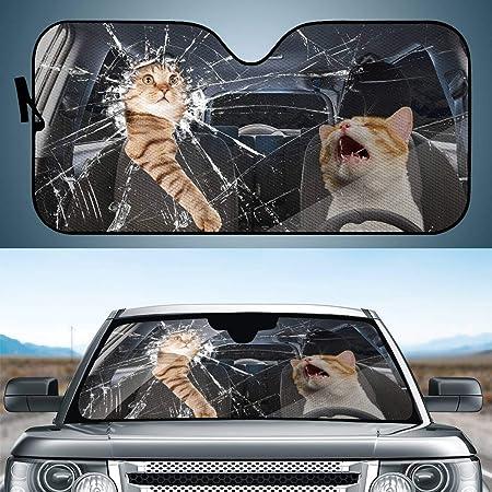 ELEQIN Funny 2 Kitten Cat Pattern Sun Shade Windshield Sun Shade for Car SUV Truck Double Bubble Foil Jumbo Folding Accordion Auto Protection Shades
