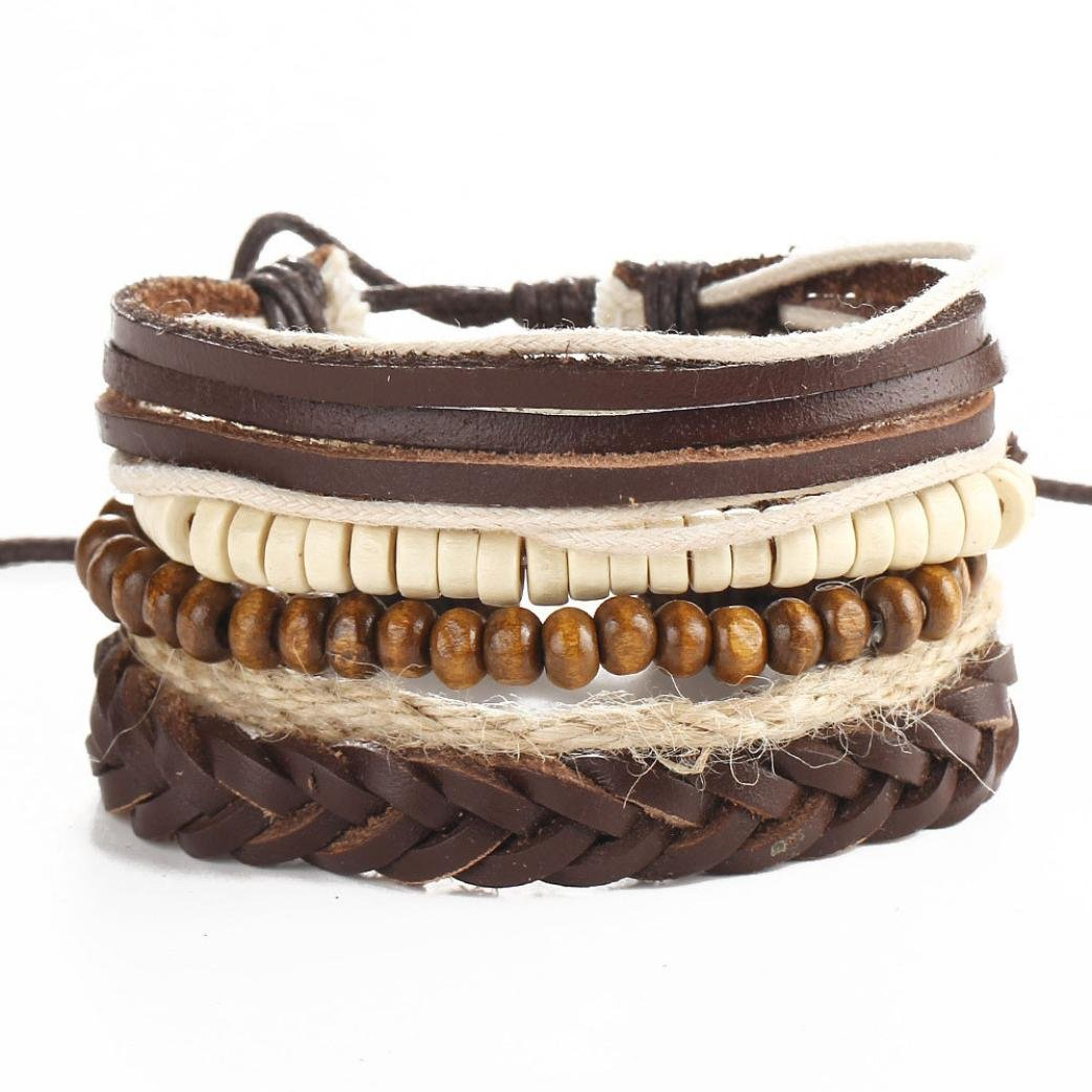 Challyhope Clearance Clearance! Fashion New Mens Braided Leather Multilayer Cuff Bangle Bracelet Wristband (Brown)