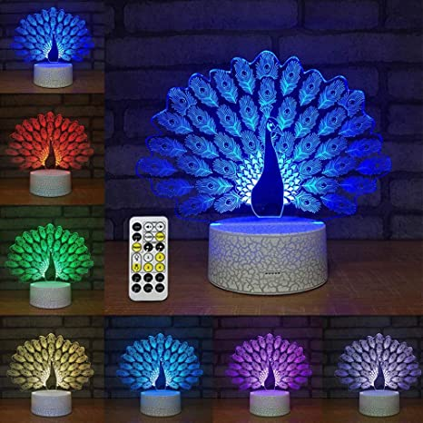 Led 3d Lamp Peacock Illusion Optical Light 7 Novelty Leegoal Jc31TFlK