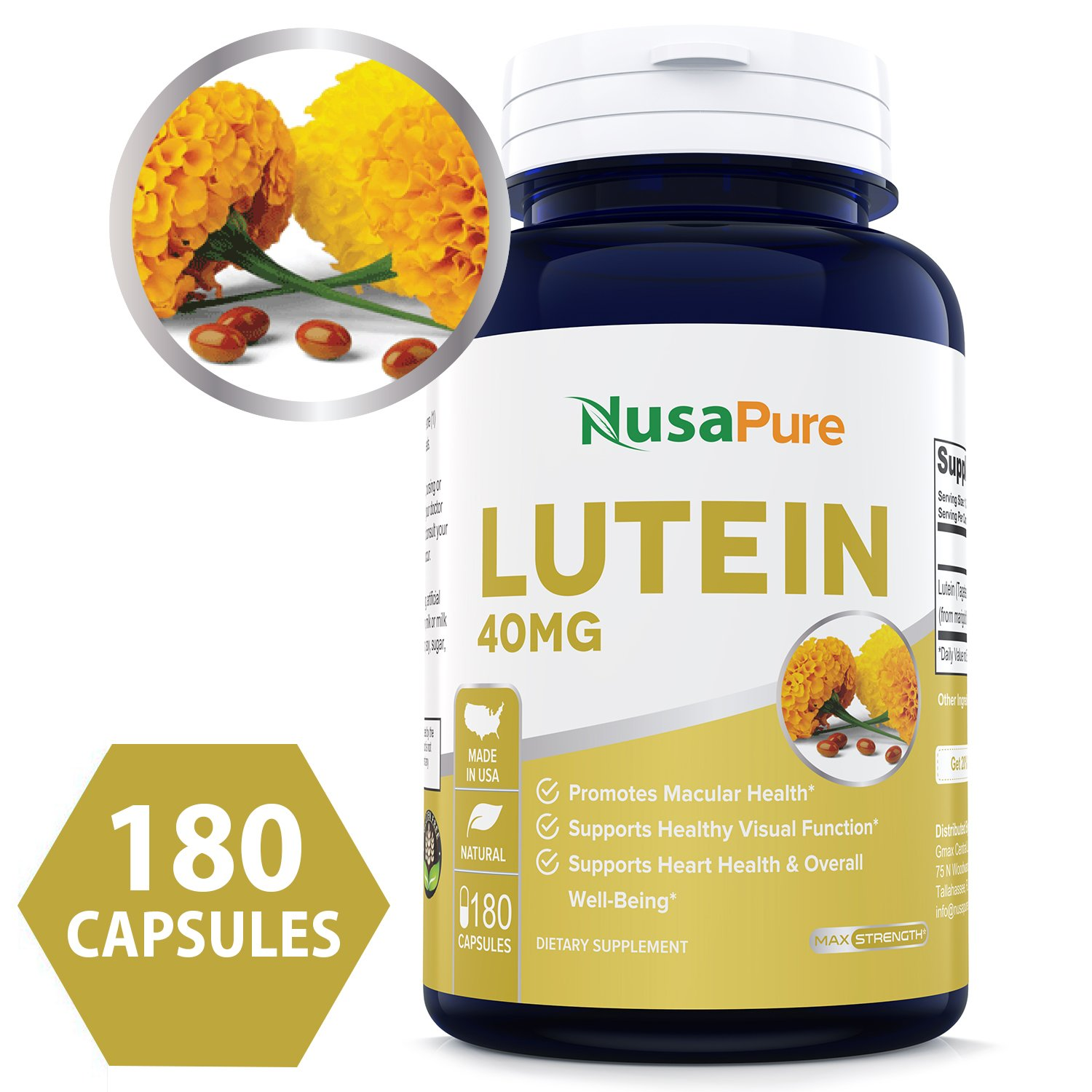 Best Lutein 40mg 180 capsules (NON-GMO & Gluten Free) Vision Support Supplement for Dry Eyes & Vision Health Care - Proudly Made in the USA - 100% MONEY BACK GUARANTEE!