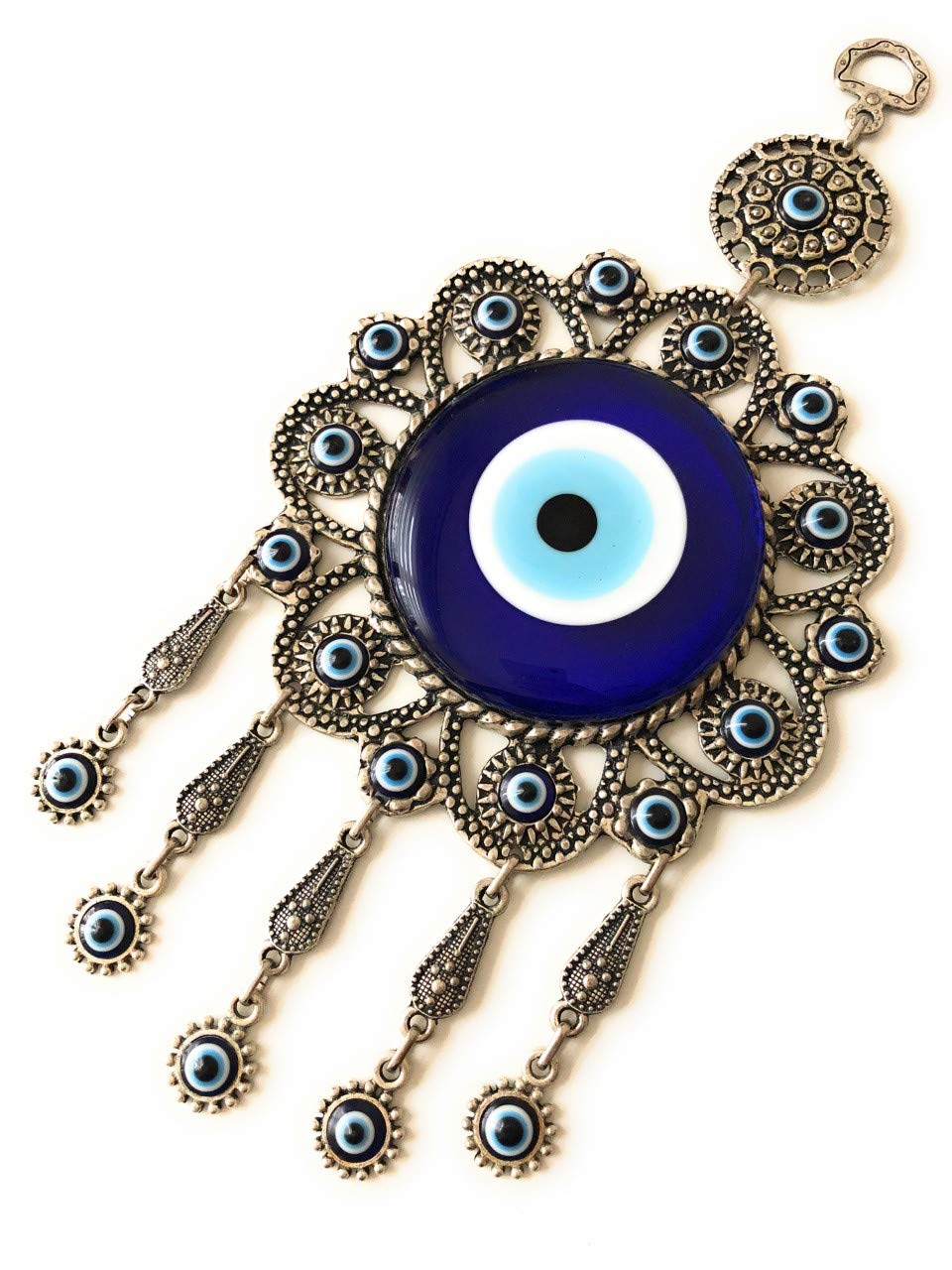 Bion Turkish Blue Evil Eye (Nazar) Flower Hamsa Hand Amulet Wall Hanging Home Decor Protection Good Luck Blessing Housewarming Birthday Gift (Flower)