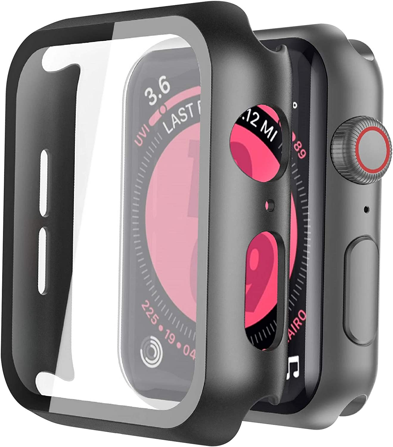 Langboom Black Hard Case Compatible with Apple Watch SE Series 6 Series 5 Series 4 44mm with Screen Protector, iwatch Ultra Thin HD Tempered Glass Screen Protector Overall Protective Cover