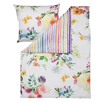 Estella Bettwäsche Flower Power Multicolor Größe 155x220 Cm 80x80