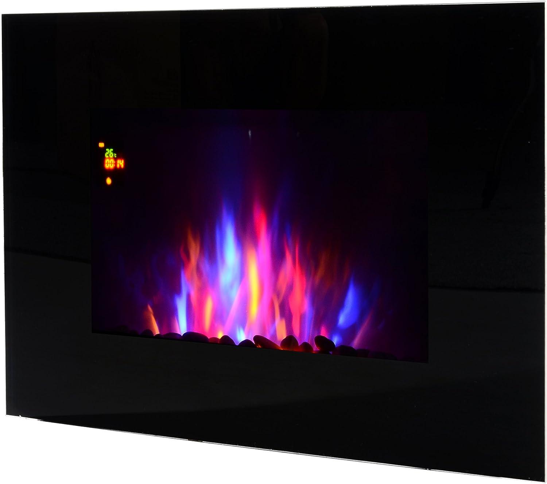 HOMCOM Chimenea Eléctrica de Pared Calefactor Estufa Eléctrica 1000/2000W Temporizador Termostato Auto-Control Llama LED 7 Color Mando a Distancia 90x9.5x56cm