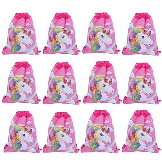 Lote de 12 Mochilas Bolsas Infantiles Niñas Unicornios ...