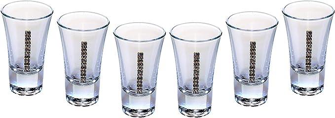 Amazon Com Popov 42244 878 Swarovski Jeweled Tequila Shot Glasses Crystal Vodka Glasses 2 Oz Liquor Glasses Set Of 6 Glassware Drinkware